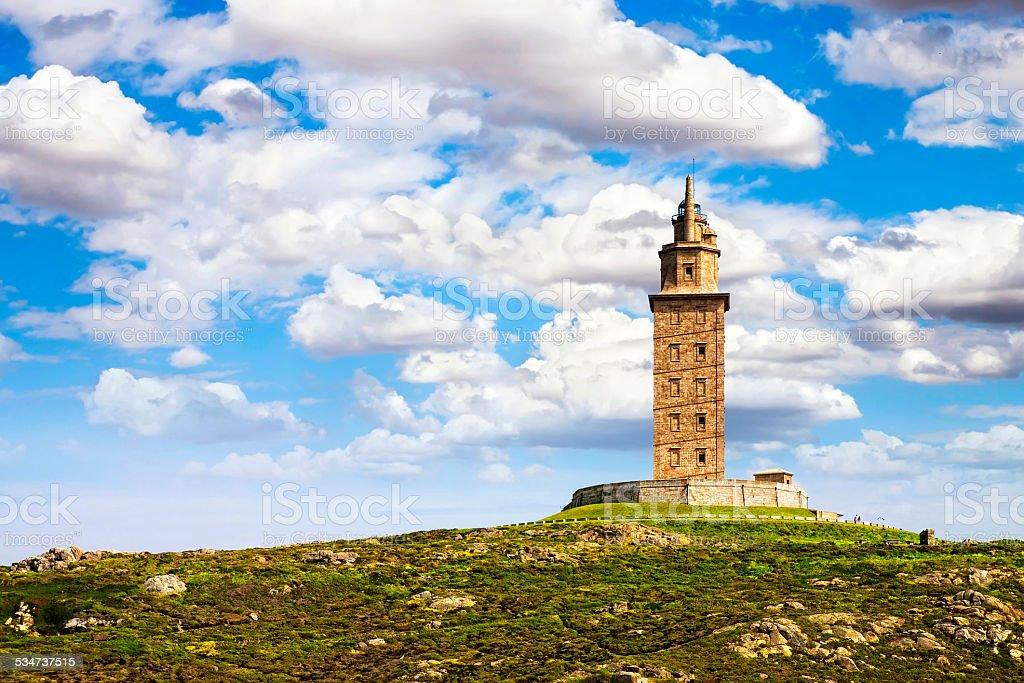 Hercules tower, La Coruna, Galicia, Spain, UNESCO stock photo