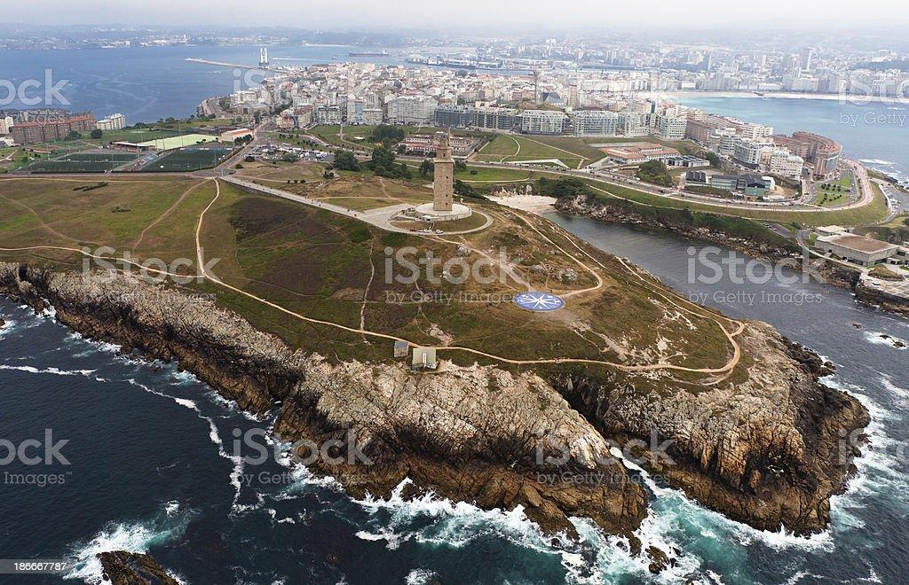 Hercules´Tower aerial view stock photo