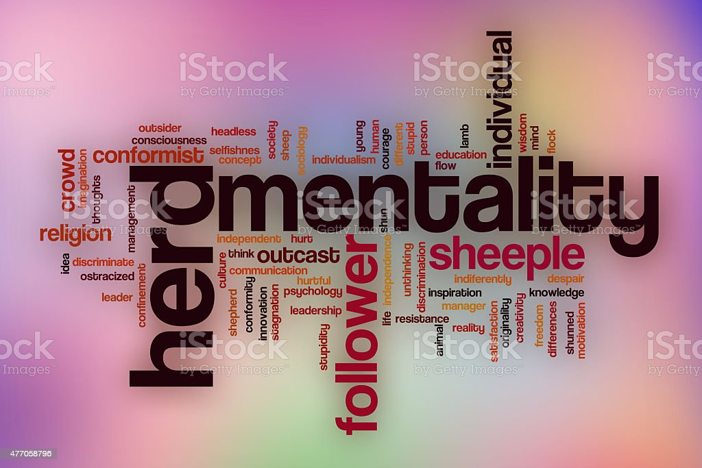 Herd mentality word cloud with abstract background stock photo