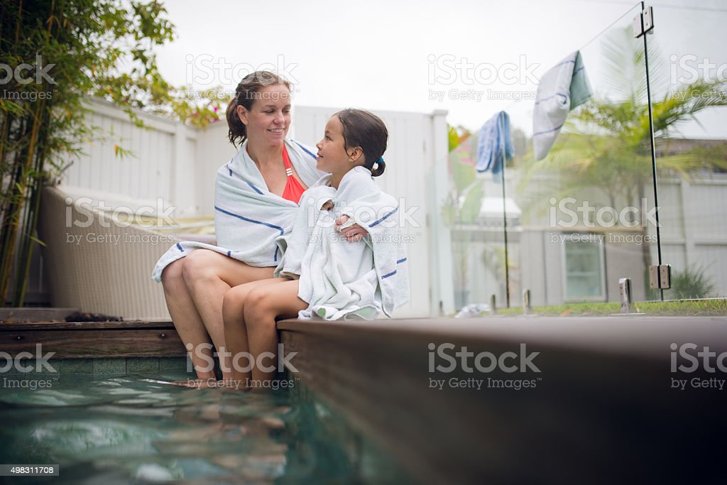 Here! A towel for you. stock photo