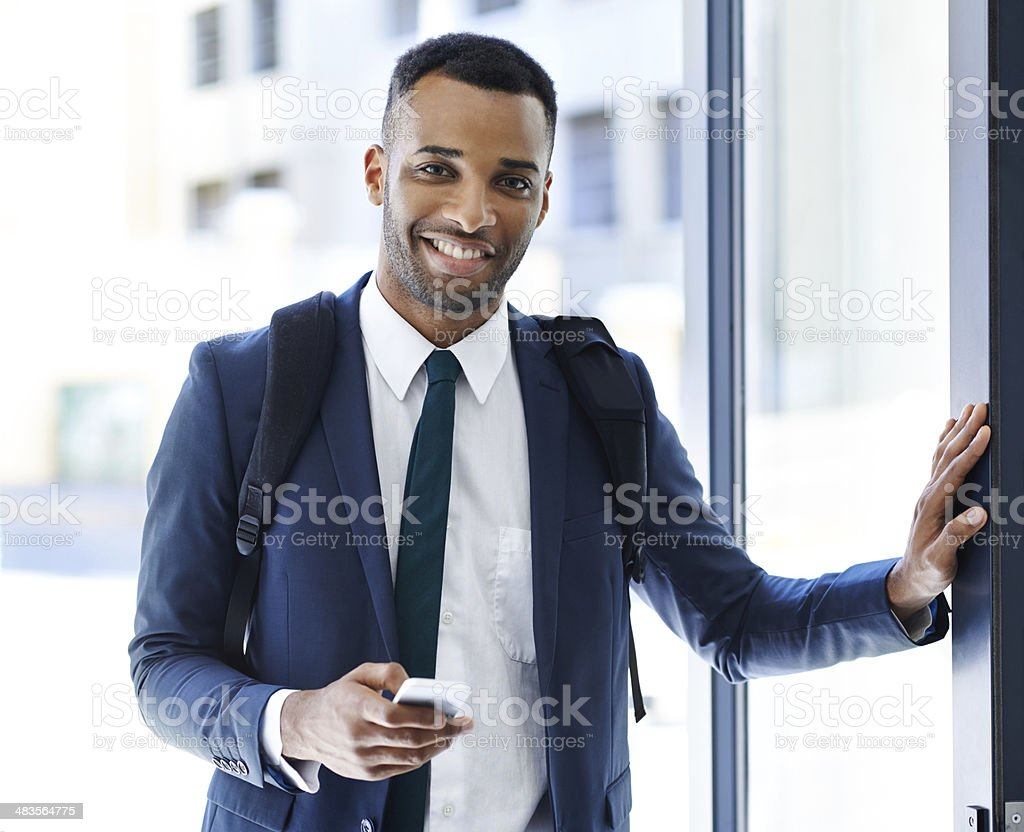 Here and ready for an awesome day's work! stock photo