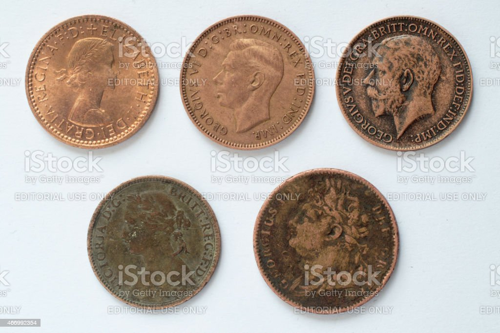 Five British farthing coins obverse 19th and 20th century stock photo