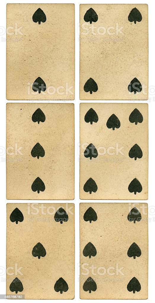 Playing cards two to six of spades 19th century stock photo