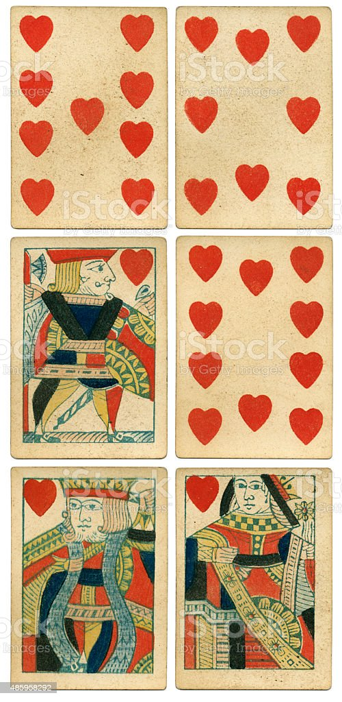 King Queen Jack of hearts 19th century 1850 stock photo