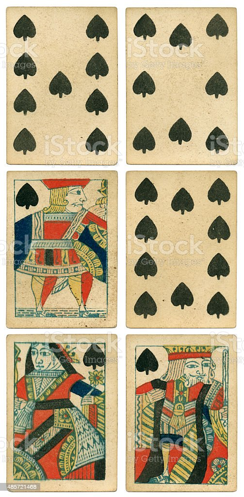 King Queen Jack of spades 19th century 1850 stock photo