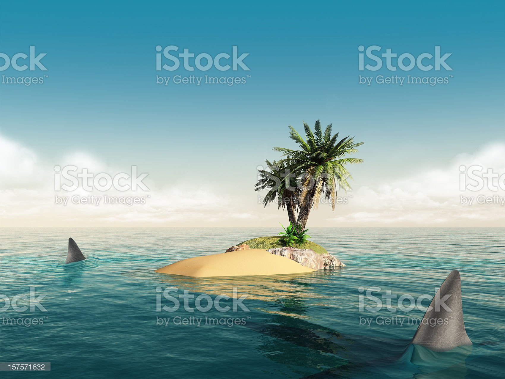 here be sharks royalty-free stock photo