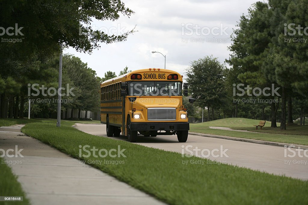 Here comes the bus! (Second of 2) stock photo