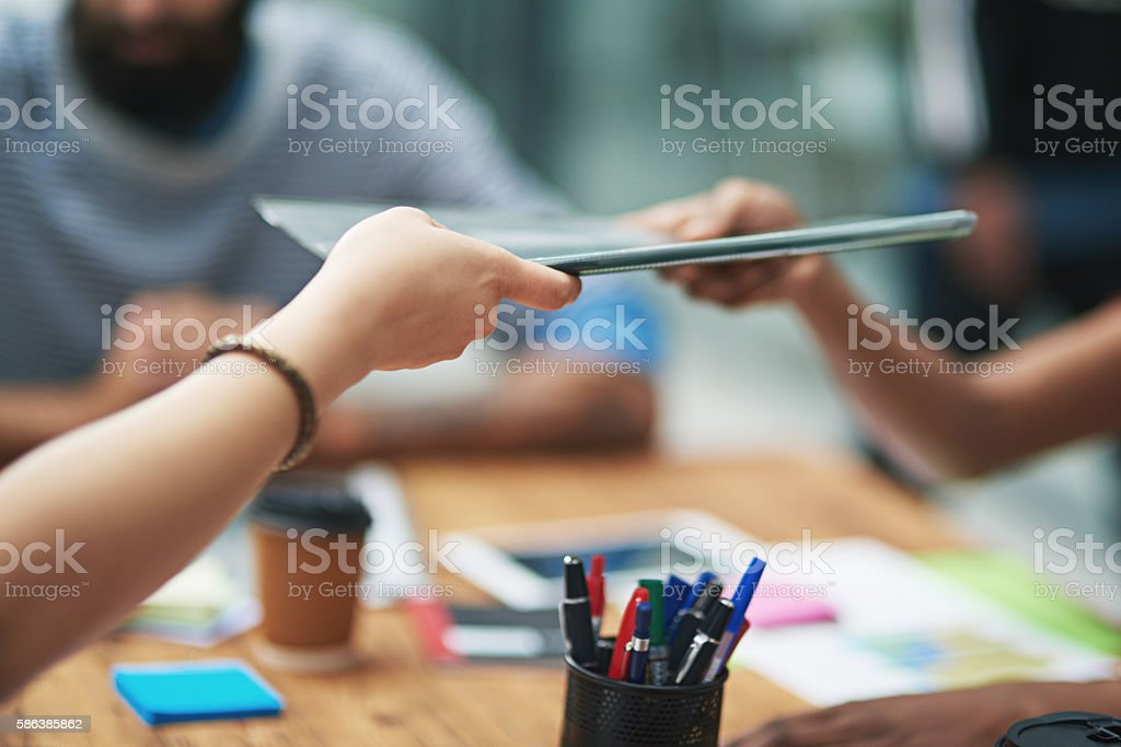 Here, have a look at the latest report stock photo