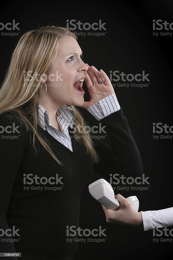 Here is the phone - STOP YELLING royalty-free stock photo