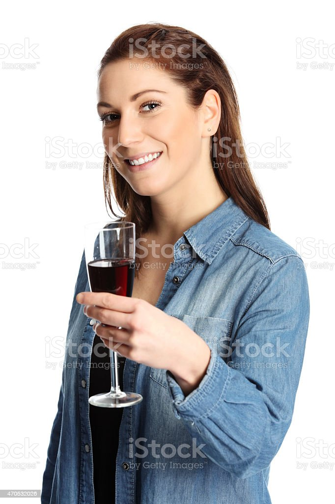 Heres a glass of wine for you stock photo