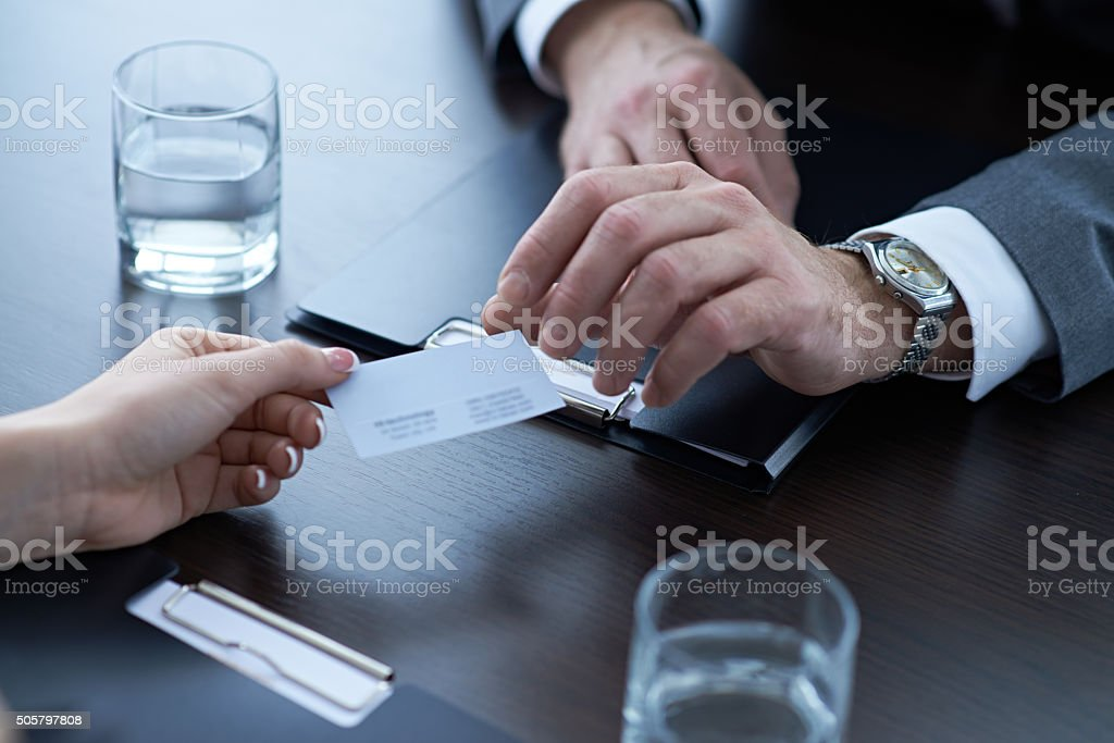 Here's my business card stock photo