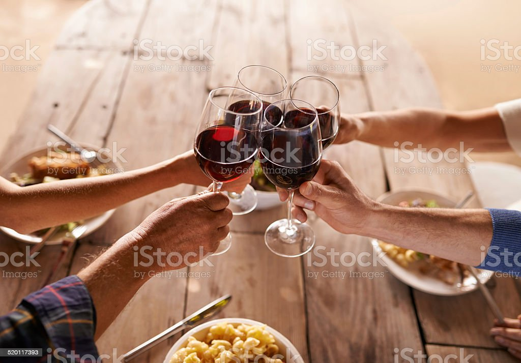 Here's to good times with great people! stock photo