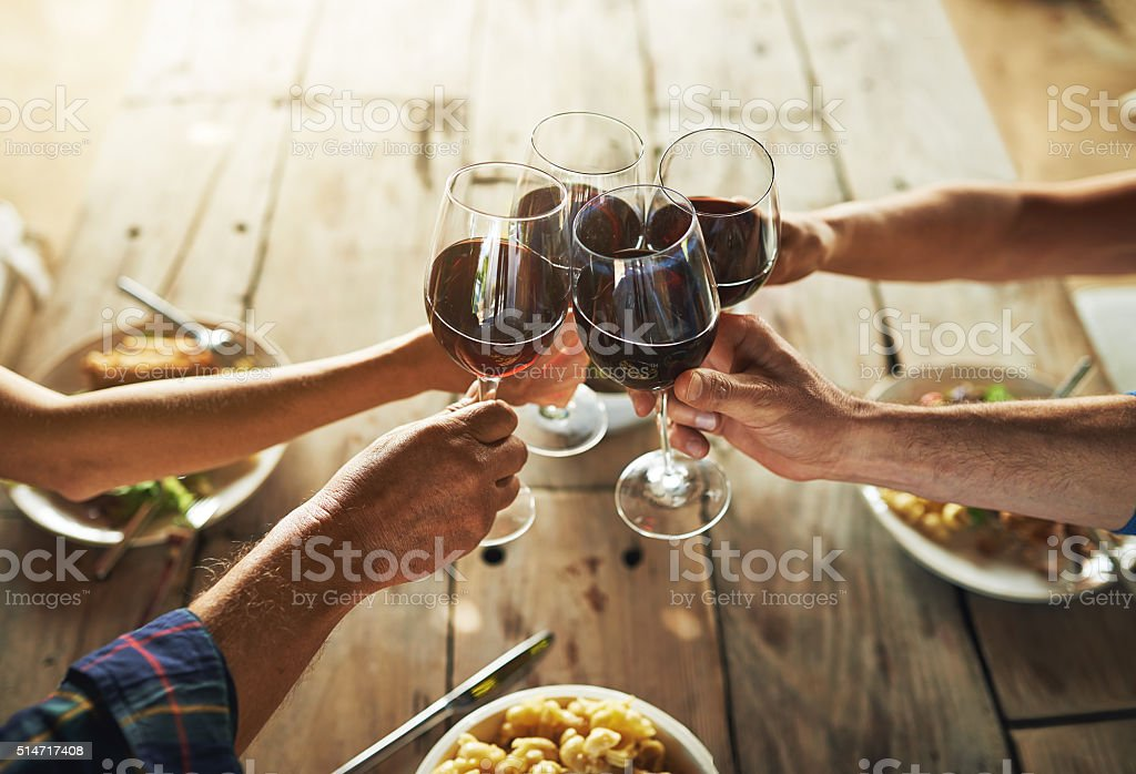 High angle shot of a group of people toasting while eating lunch...