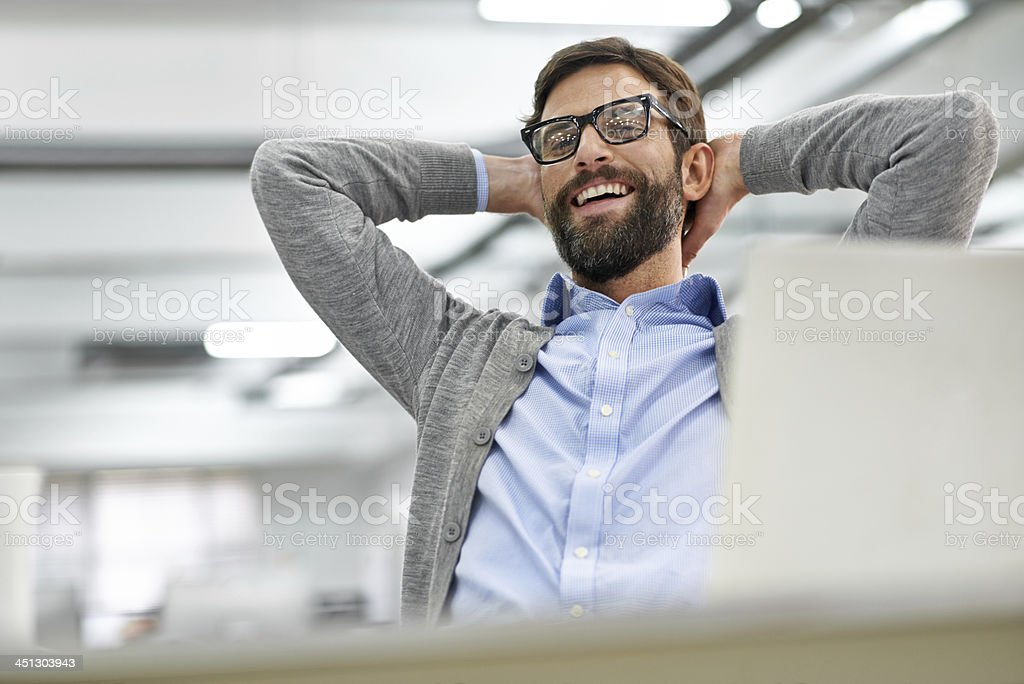 Here's to me and a job well done! stock photo