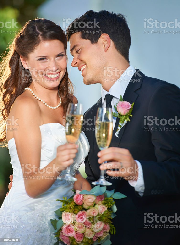 Here's to the happy couple royalty-free stock photo