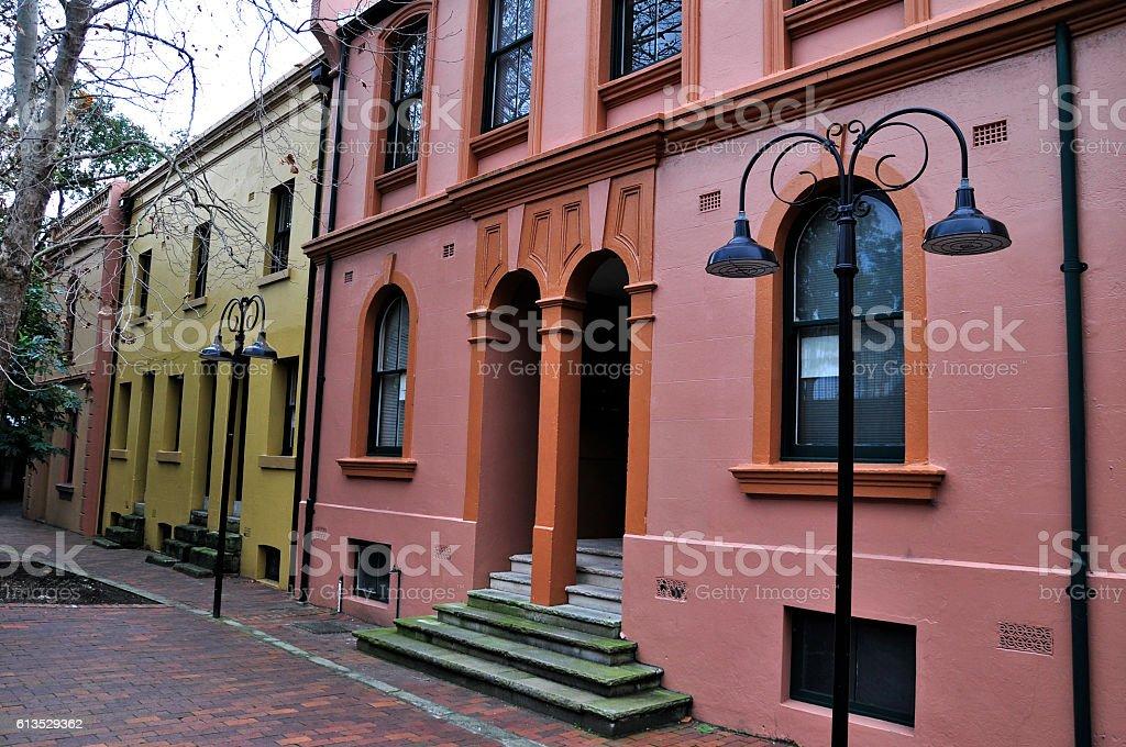 Heritage buildings in The Rocks stock photo