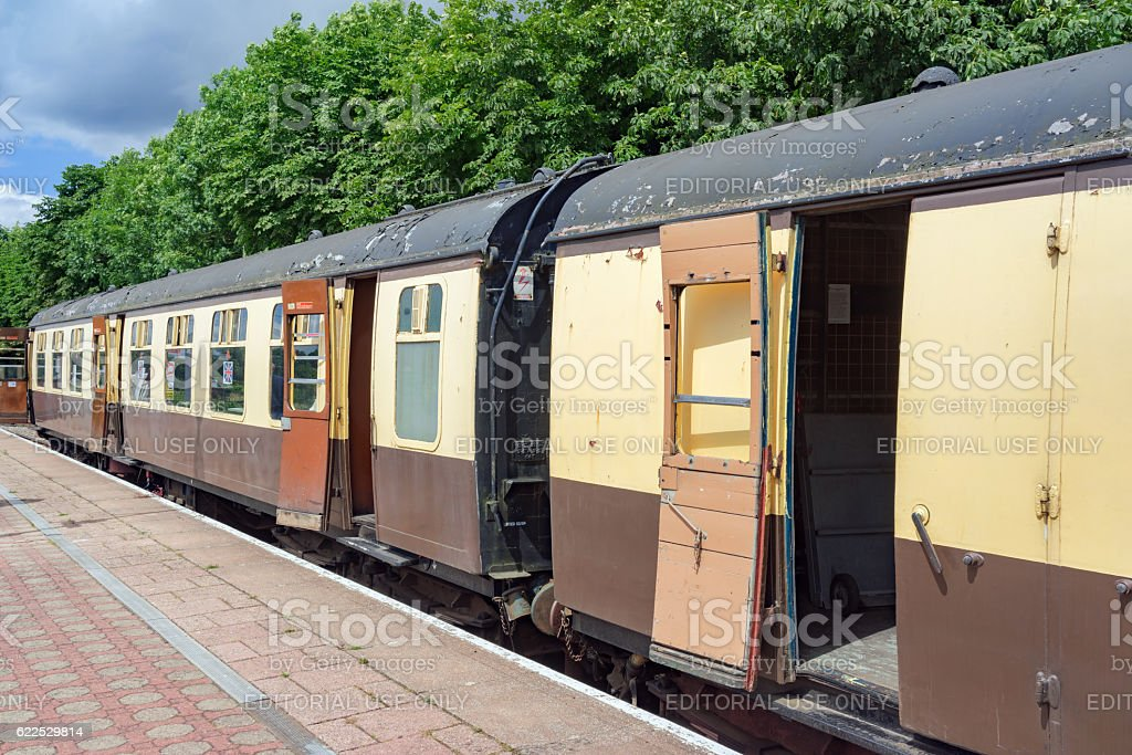 Heritage carriages in former Great Western livery stock photo