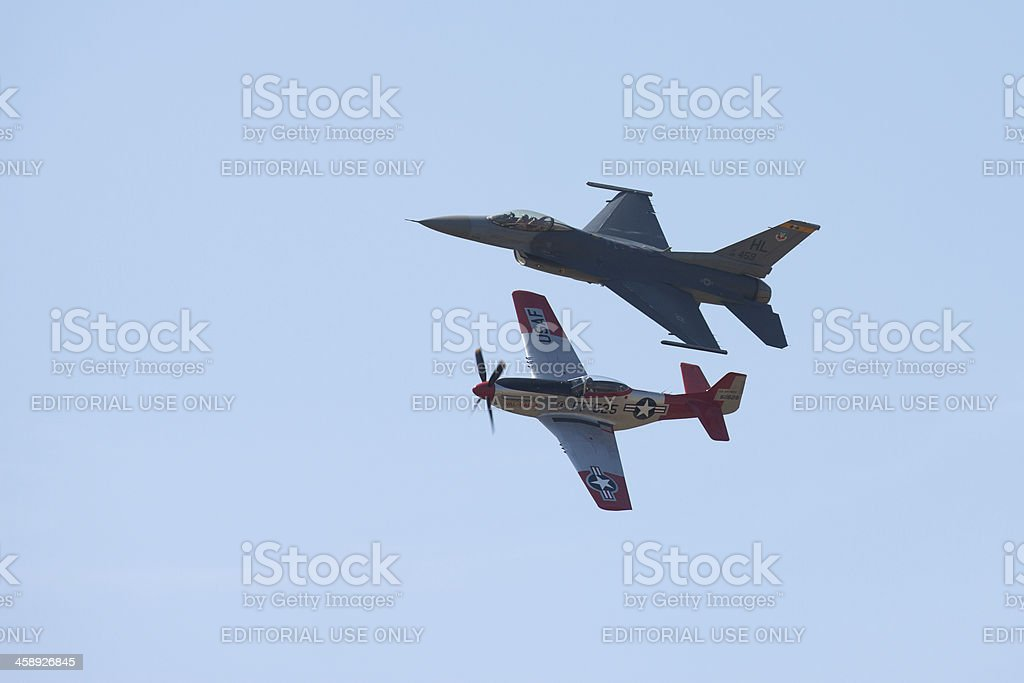 Heritage Flight of P-51 and F-16 stock photo