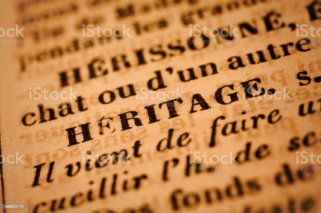 Heritage: French Dictionary Close-up stock photo