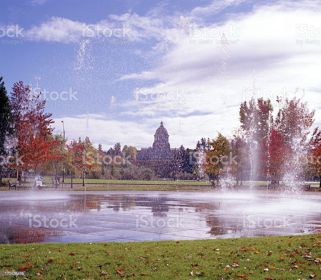 Heritage Park Fountain, Olympia, in Autumn stock photo
