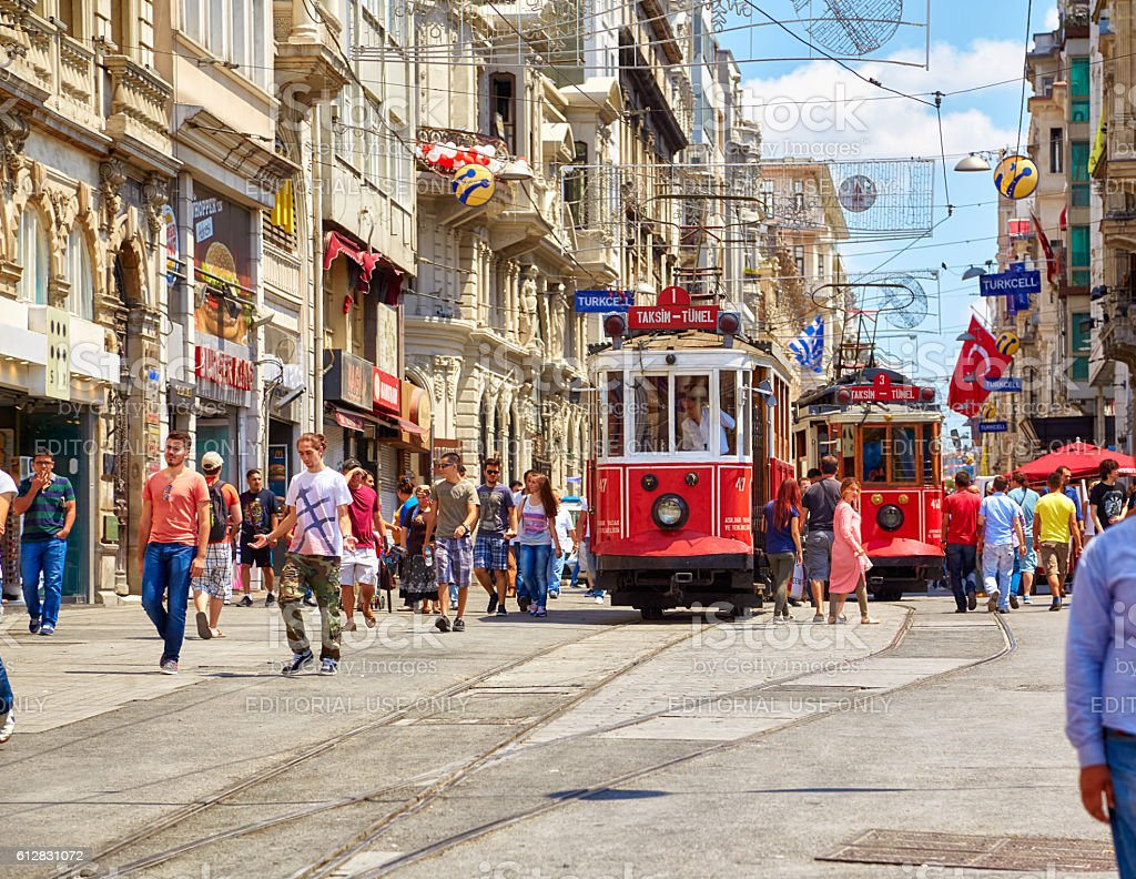 Heritage tram on Istiklal Avenue, Istanbul stock photo