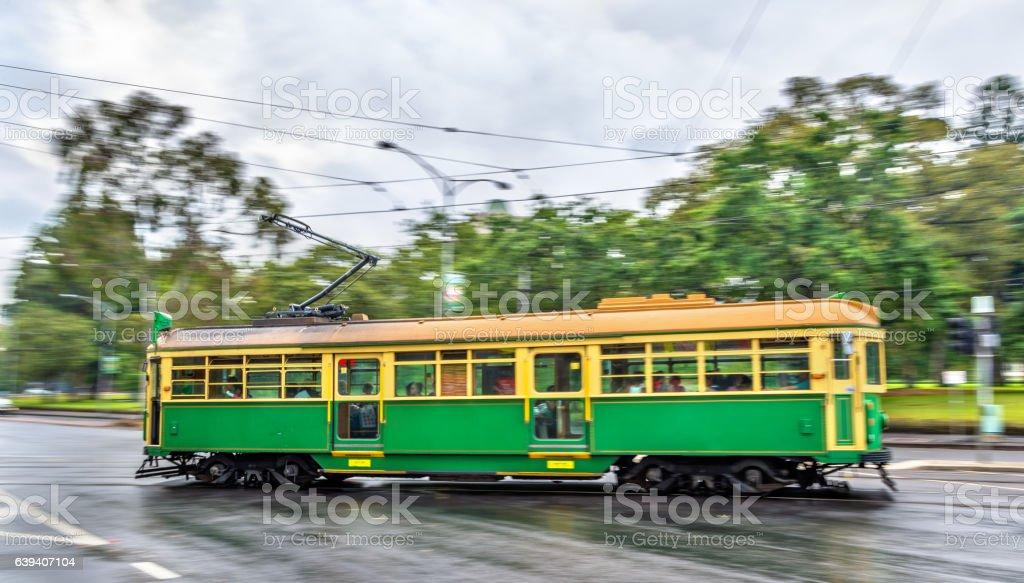 Heritage tram on La Trobe Street in Melbourne, Australia stock photo