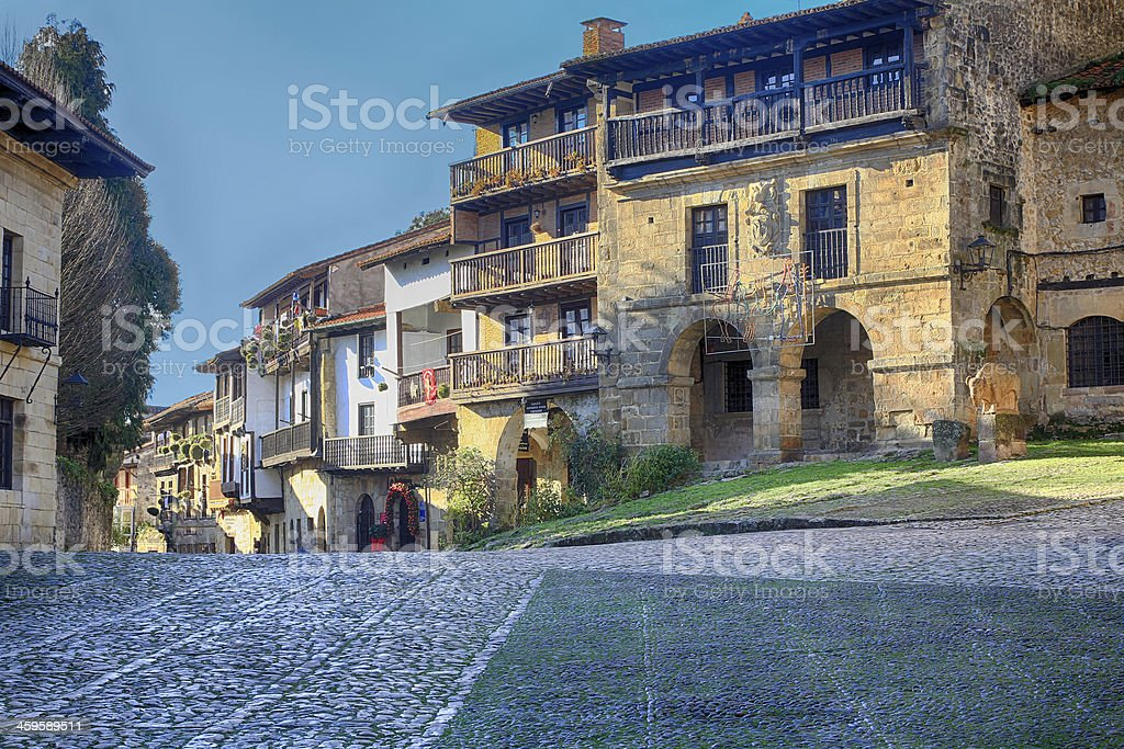 heritage village of Santillana del stock photo
