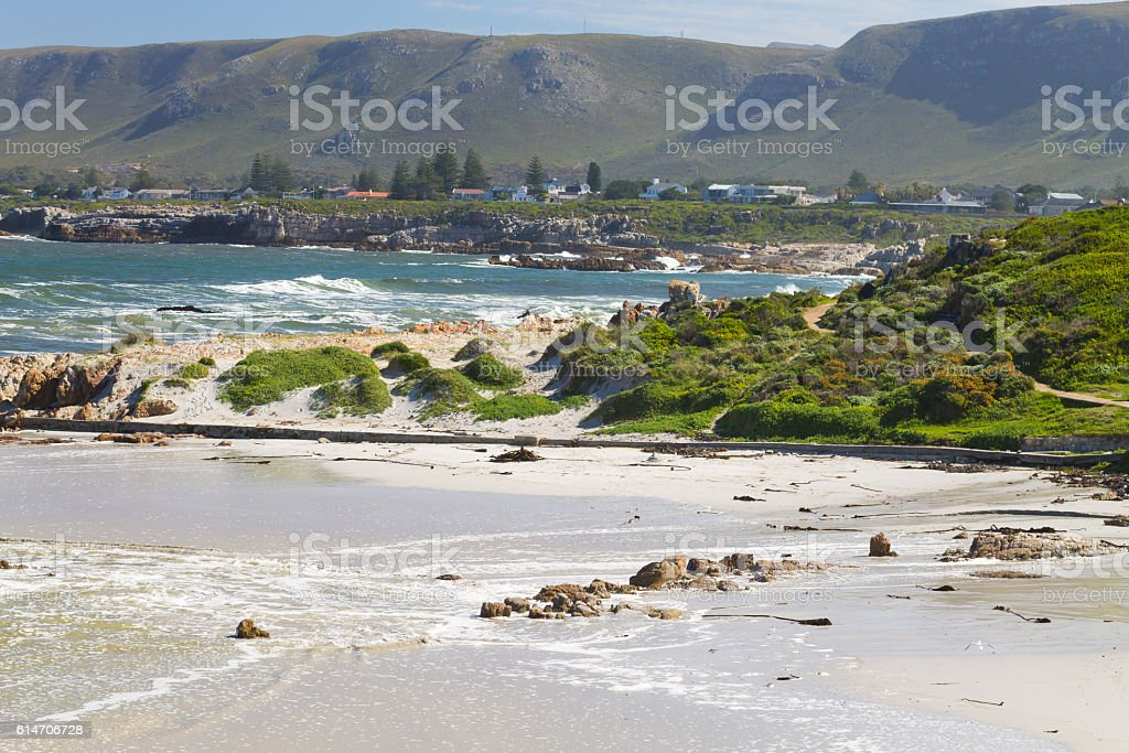 Hermanus beach view, South Africa stock photo