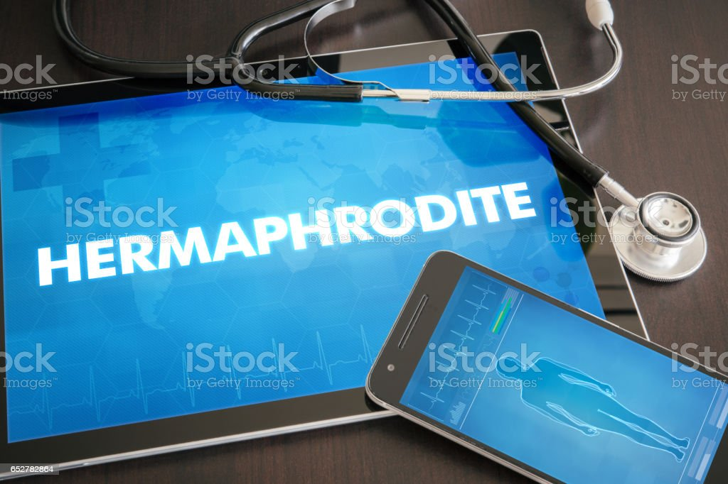 Hermaphrodite (endocrine disease related) diagnosis medical concept on tablet screen with stethoscope stock photo