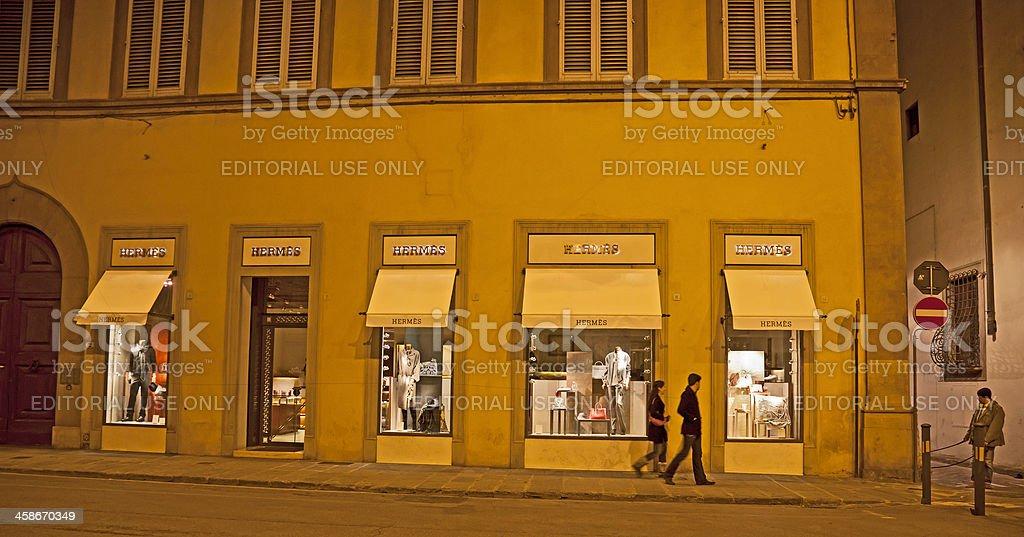 Hermes shop display, night: Via de' Tornabuoni, Florence, Italy stock photo