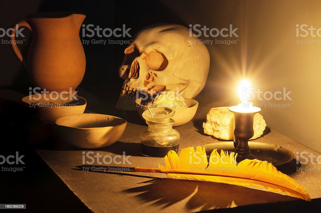 Hermetic Thoughts at Candlelight. stock photo