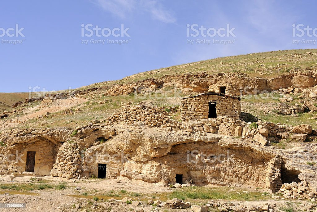 Hermit cells in Kidron valley, Israel. royalty-free stock photo