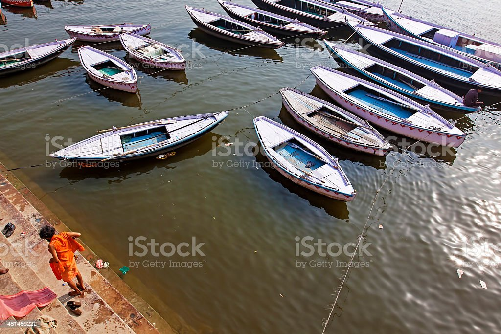 Hermit preparing to bath in the holy ganges in Varanasi stock photo