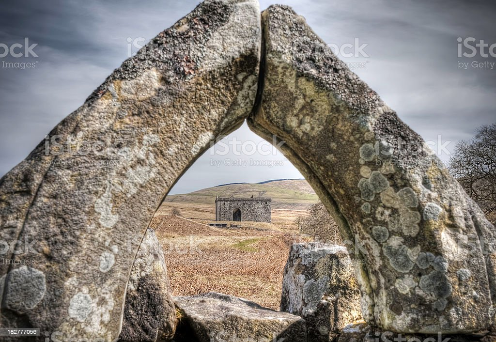 'Hermitage Castle from the ruined chapel, Scottish Borders, Scotl' stock photo