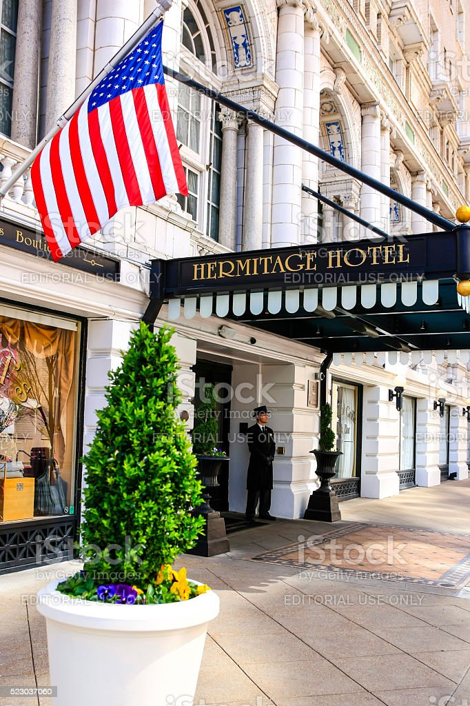 Hermitage hotel on 6th Avenue N in downtown Nashville, Tennessee stock photo