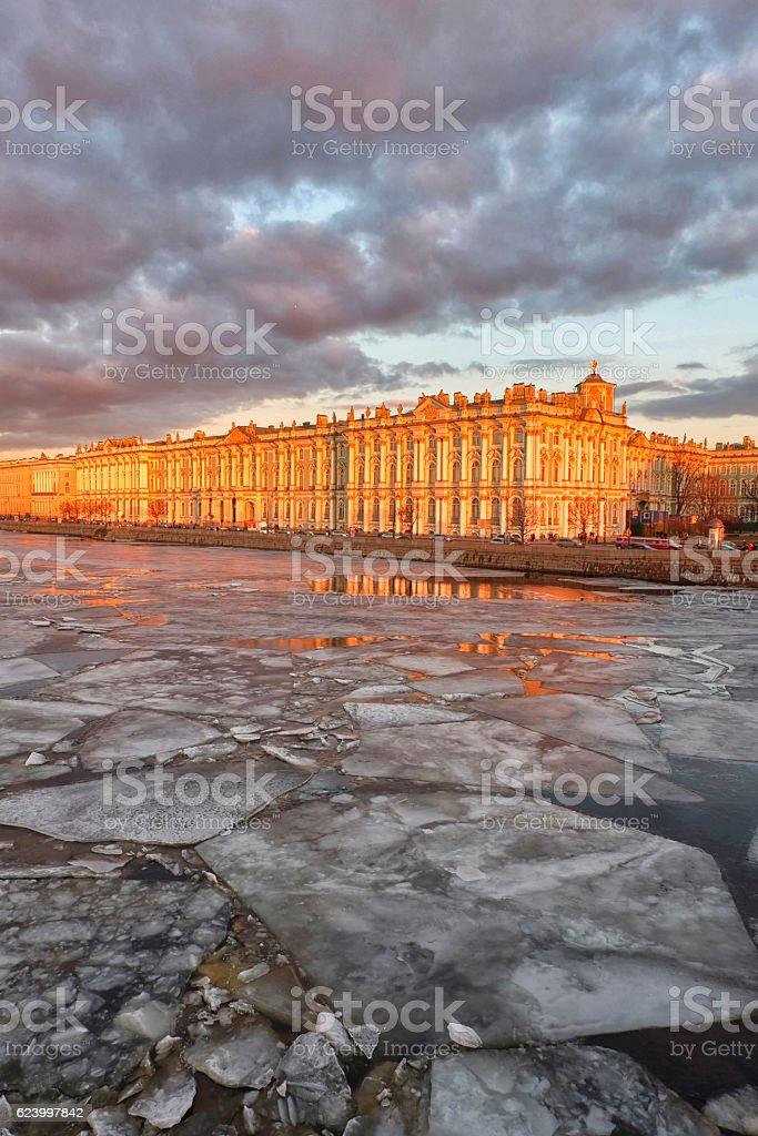 hermitage in winter season and ice break on river stock photo
