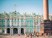 Hermitage museum and Alexander Column in St. Petersburg