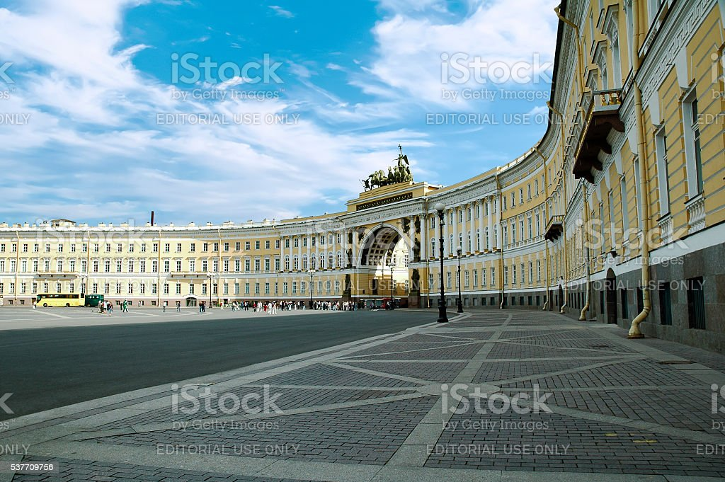 Hermitage Museum at Winter Palace Square, St. Petersburg, Russia stock photo