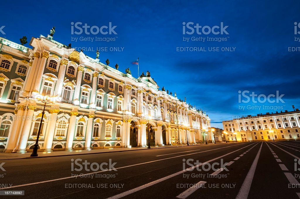 Hermitage museum in St Petersburg at Night stock photo