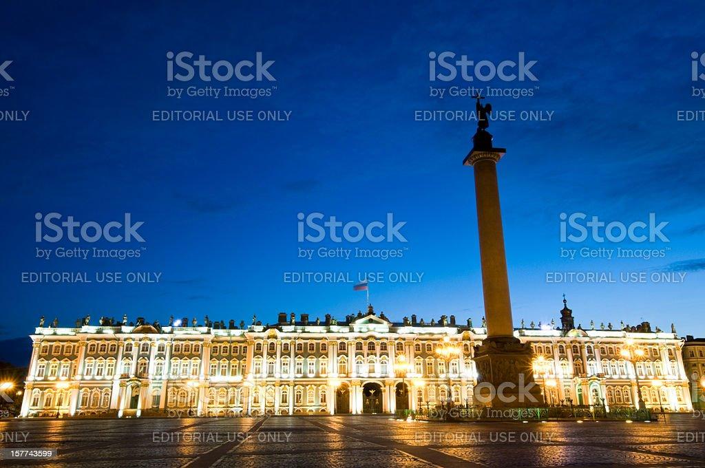 Hermitage museum in St Petersburg at Night stock photo