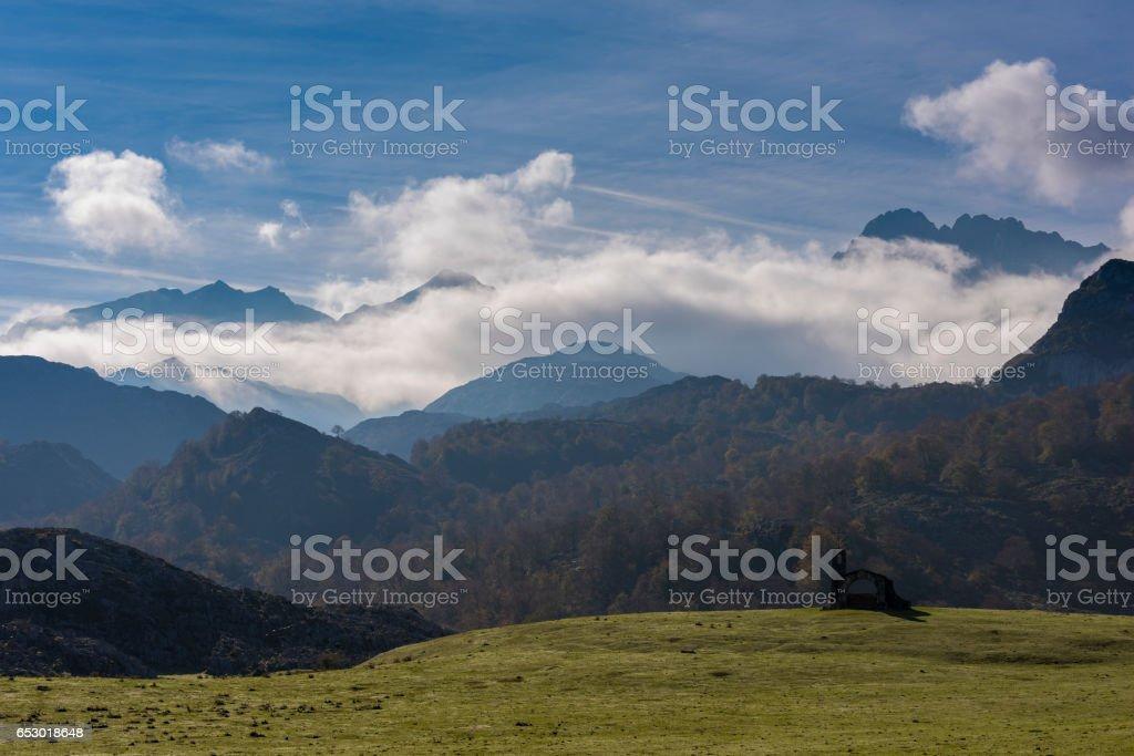 Hermitage of Buen Pastor (Covadonga, Asturias - Spain). stock photo