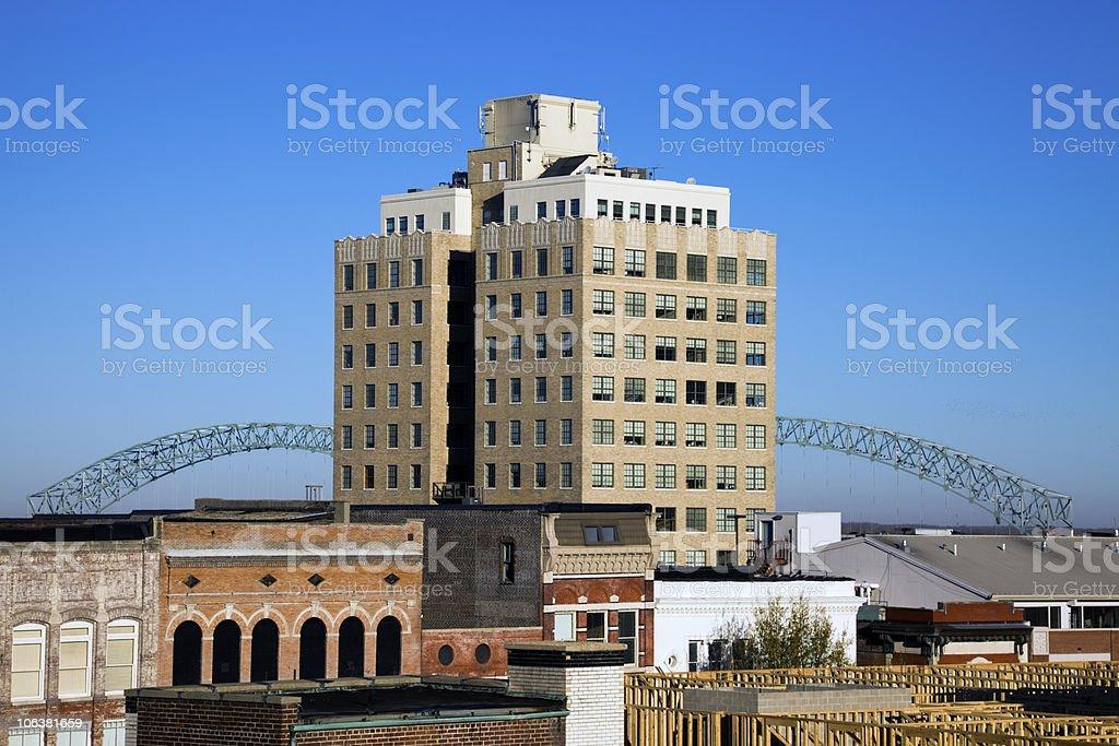 Hernando de Soto Bridge seen from downtown of Memphis royalty-free stock photo