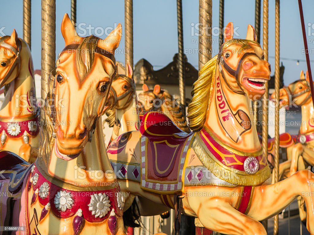 Herne Bay pier, carousel horses in the evening sunshine stock photo