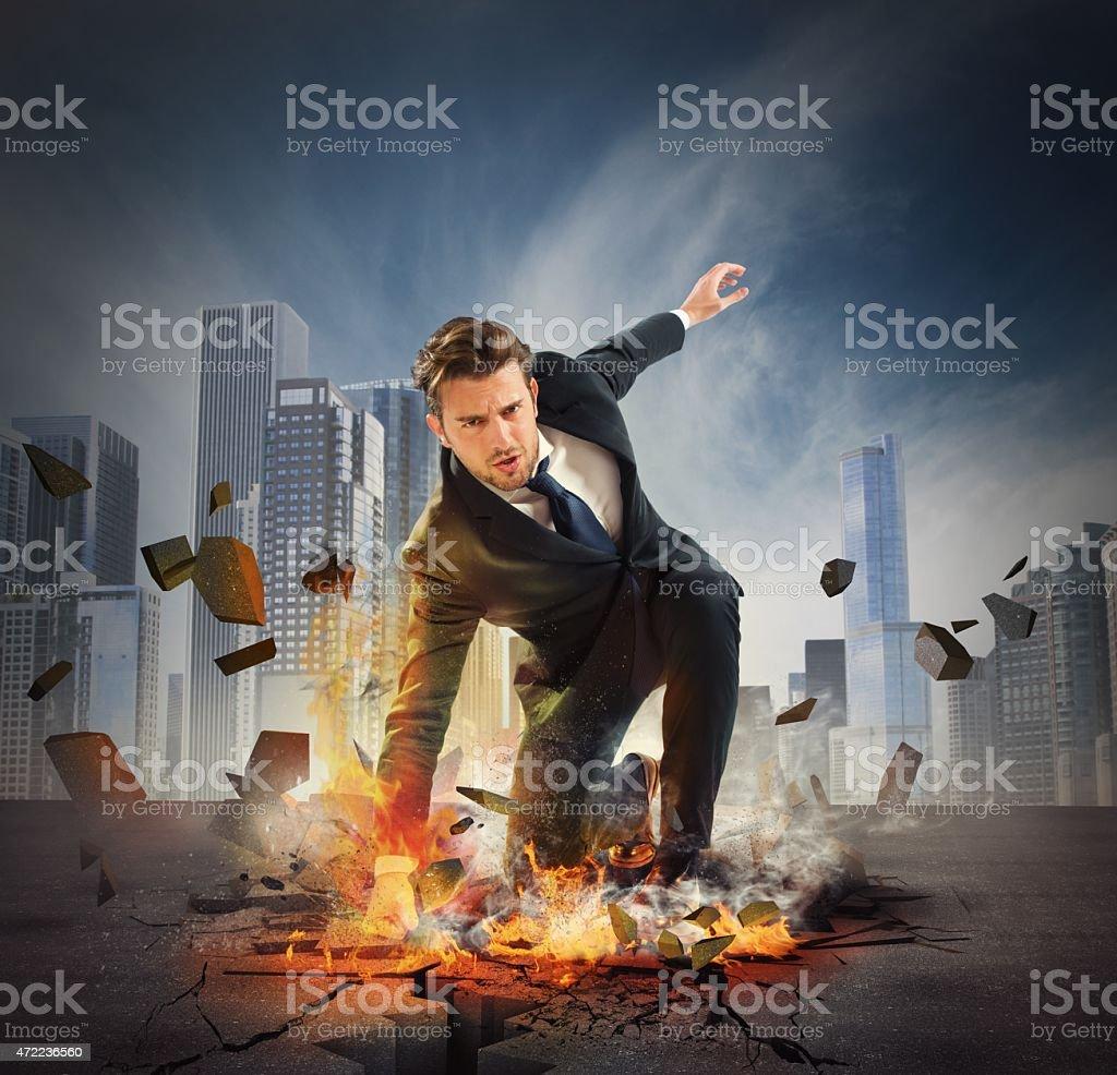 Hero determinated businessman stock photo