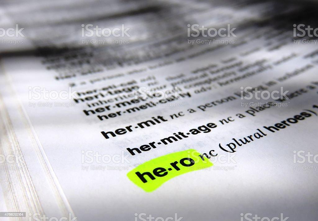 Hero, dictionary definition stock photo