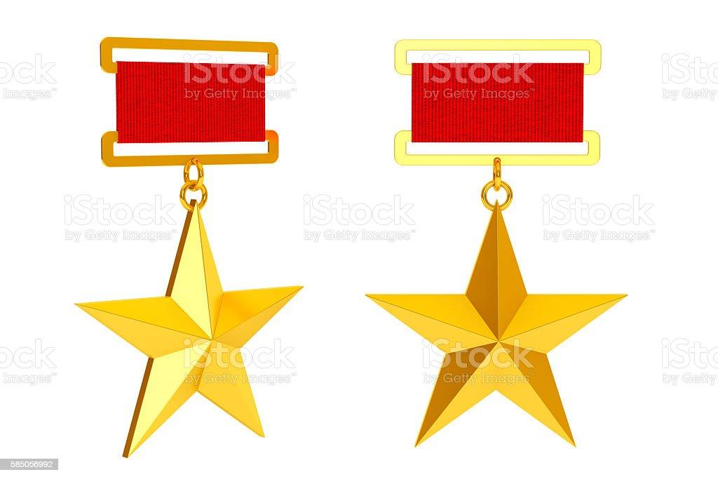 Hero of the Soviet Union Gold Star Awards. 3d Rendering stock photo