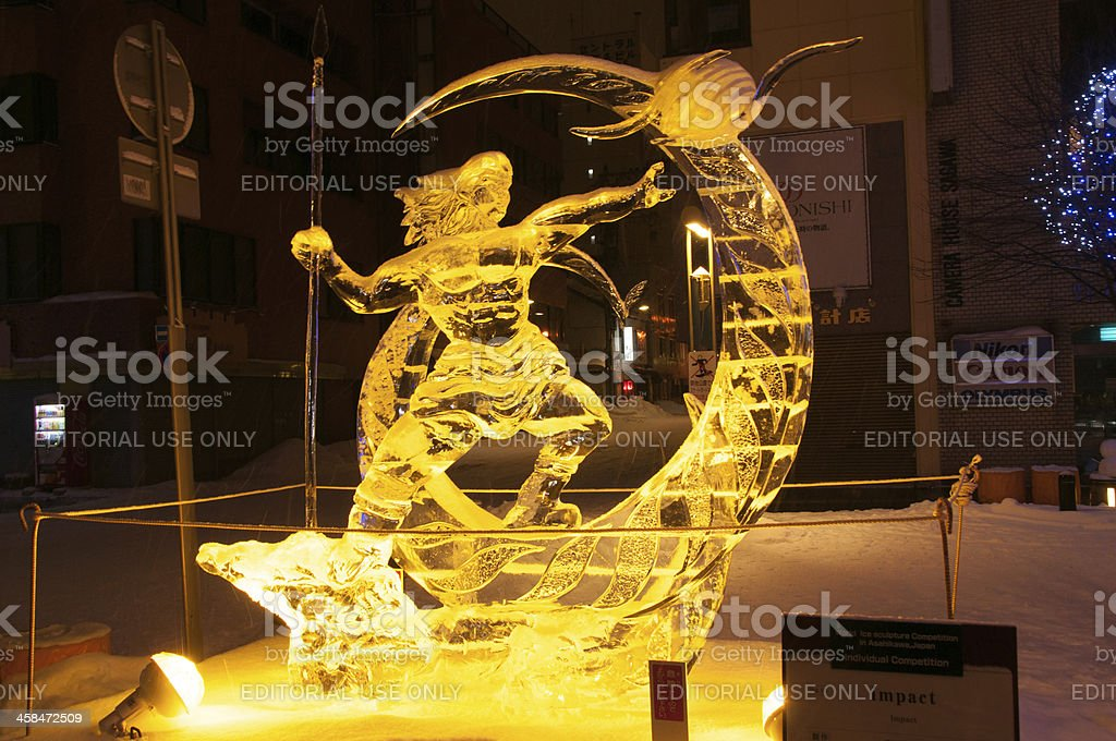 Hero on a cresent sculpture at 45th Asahikawa Winter Festival stock photo