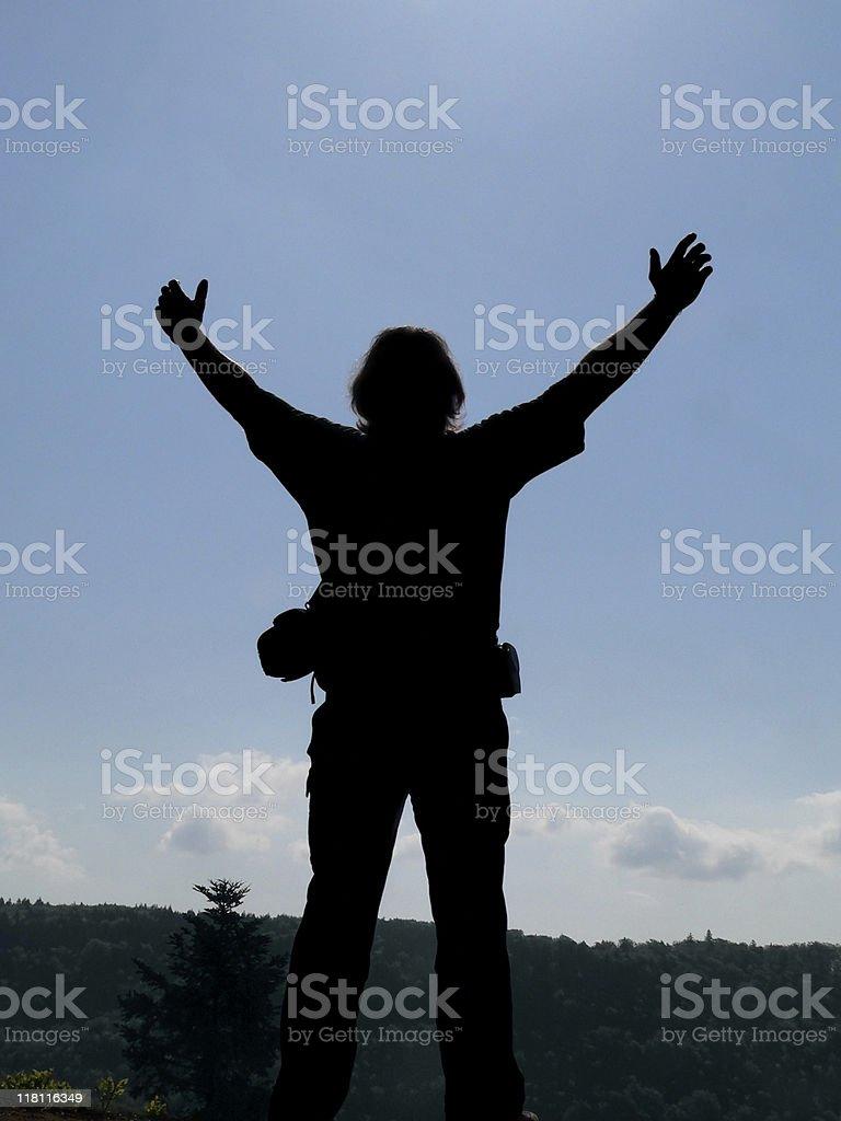 hero on mountain top royalty-free stock photo