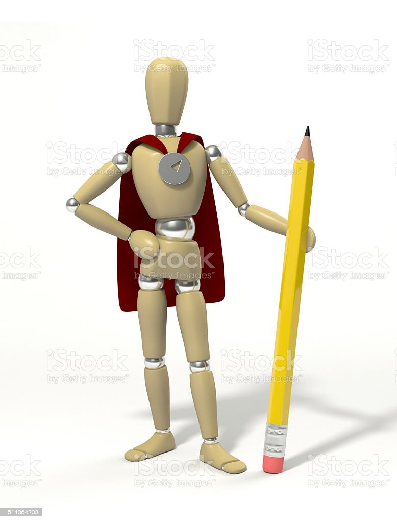 Hero with pencil royalty-free stock photo