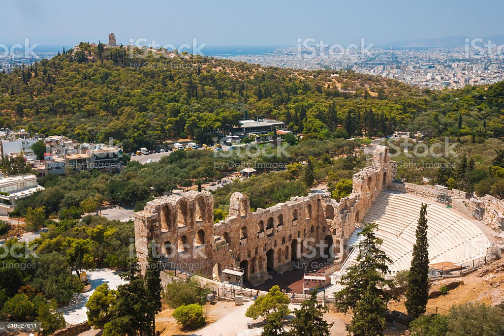 Herodes theater of the Acropolis in Athens stock photo
